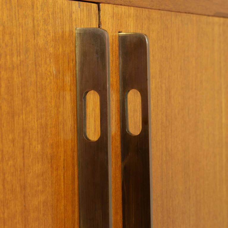 Sitting Room Cabinet Teak Veneer Formica Brass Screen Printed Panel, 1960s For Sale 1