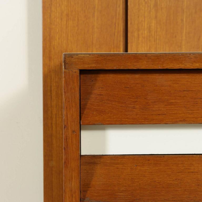 Italian Sitting Room Cabinet Teak Veneer Formica Brass Screen Printed Panel, 1960s For Sale