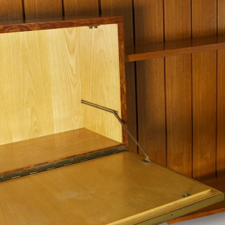 Mid-20th Century Sitting Room Cabinet Teak Veneer Formica Brass Screen Printed Panel, 1960s For Sale