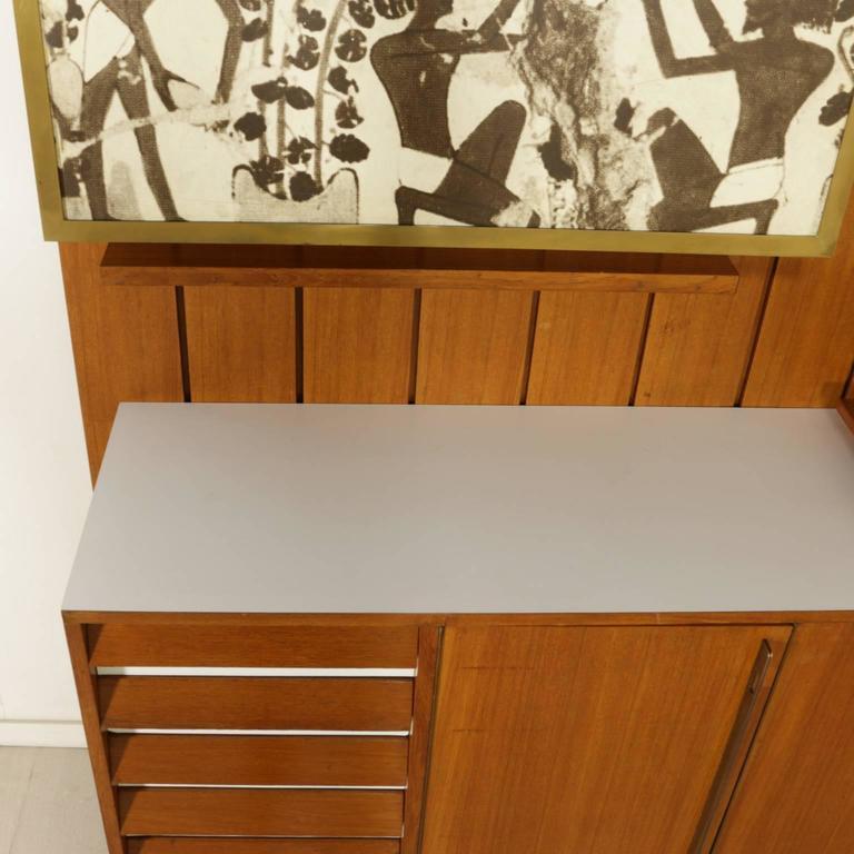Sitting Room Cabinet Teak Veneer Formica Brass Screen Printed Panel, 1960s For Sale 2
