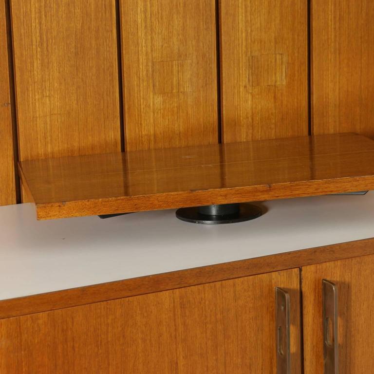 Sitting Room Cabinet Teak Veneer Formica Brass Screen Printed Panel, 1960s For Sale 4