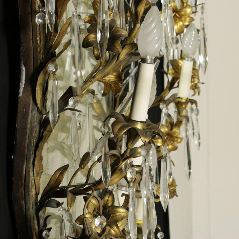 Italian Elegant Mirror Frame With Antique Bronze Lilies Crystal Pendants Italy For