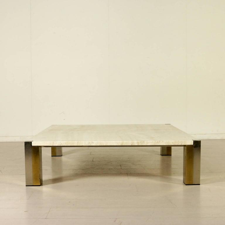 Large Coffee Table Marble Steel Brass Vintage Manufactured