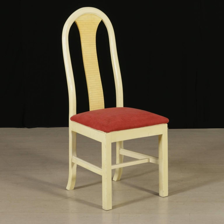 Group of Seven Chairs Wood Synthetic Material Foam Fabric Vintage, Italy,  1950s
