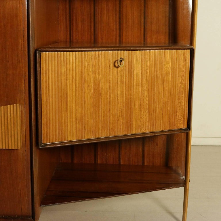 Cabinet Mahogany Veneered Wood Retro Glass Treated Vintage, Italy, 1950s 4