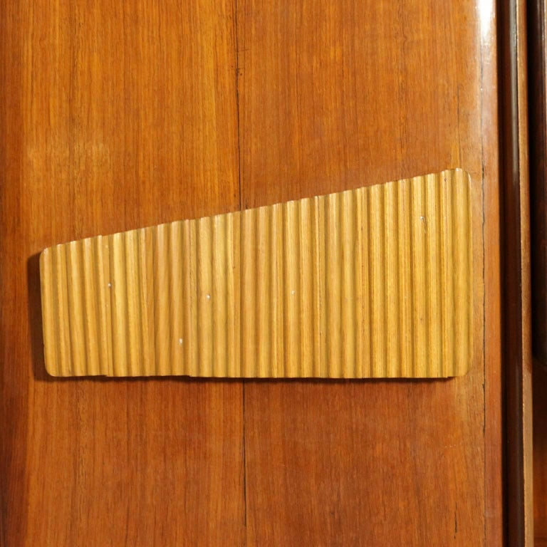 Cabinet Mahogany Veneered Wood Retro Glass Treated Vintage, Italy, 1950s 7