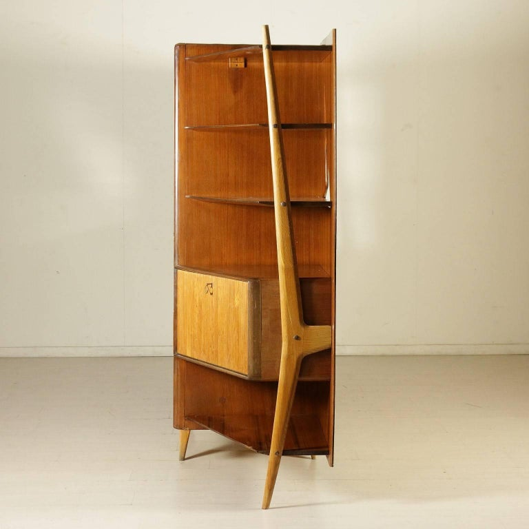 Cabinet Mahogany Veneered Wood Retro Glass Treated Vintage, Italy, 1950s 10