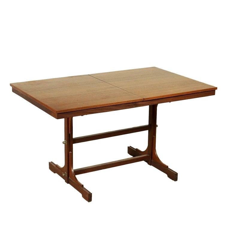 Extensible table solid wood teak veneered vintage for Dining table extensible