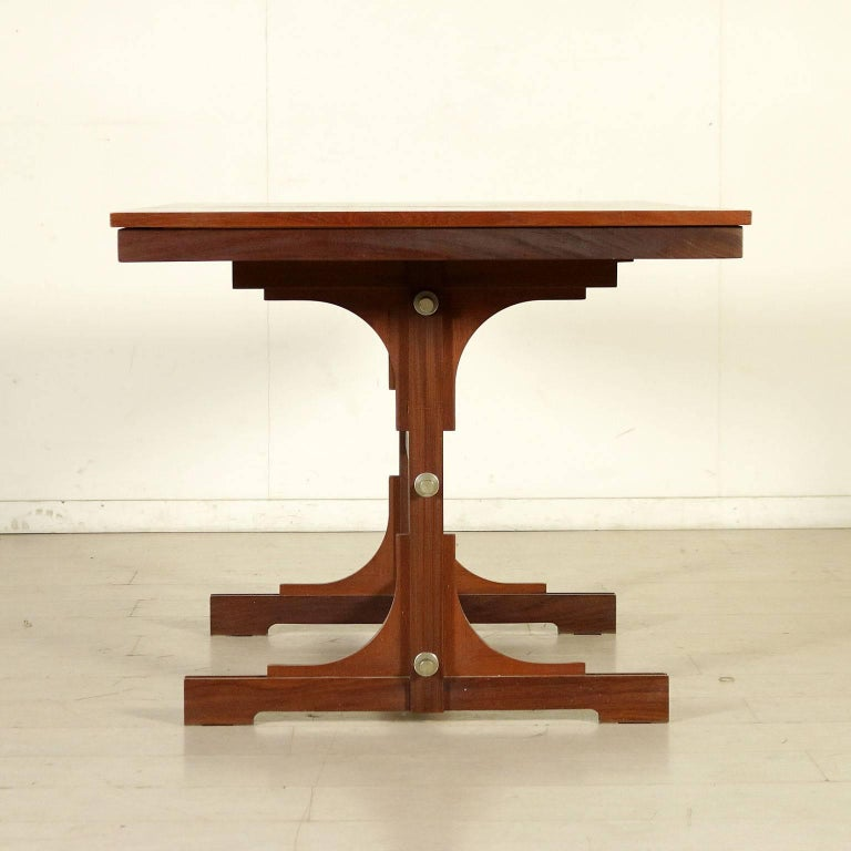 Extensible table solid wood teak veneered vintage - Petite table extensible ...