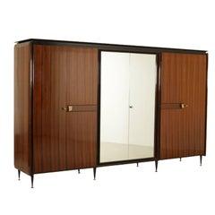 Wardrobe Six Doors Rosewood Veneer Mirrors Brass Metal Vintage, Italy