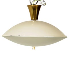 Ceiling Lamp Brass Glass and Aluminium Vintage, Italy, 1950s