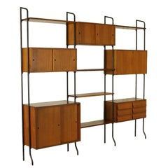 Bookcase Adjustable Elements Teak Veneer Vintage, Italy, 1960s