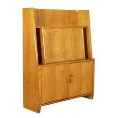 Desk by Osvaldo Borsani Maple Veneer and Brass Vintage, Italy