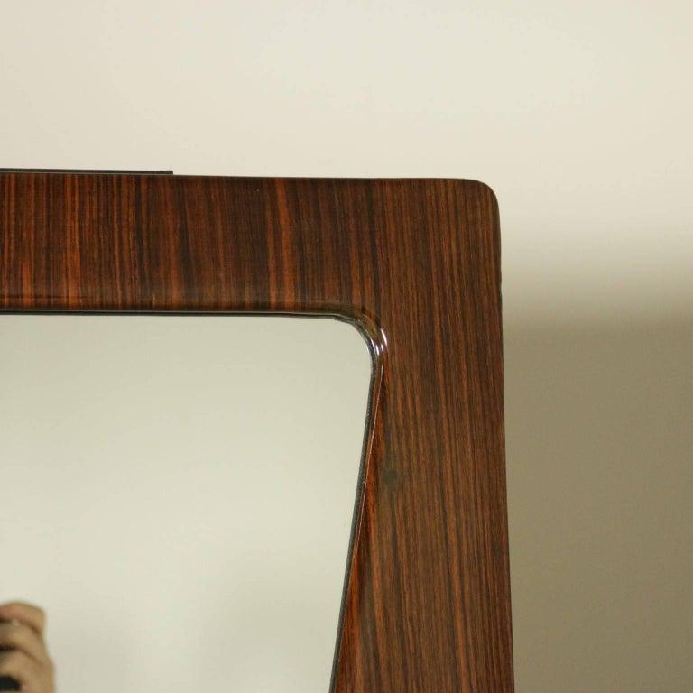 Italian Wardrobe Rosewood Veneer Mirrors Decorative Wood Vintage, 1950s-1960s For Sale