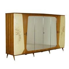 Wardrobe Mahogany Veneer Mirror Brass Vintage Manufactured in Italy, 1950s-1960s