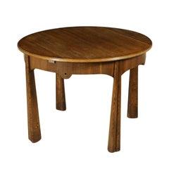 Round Table Oak Veneer Vintage Manufactured in Italy 1950s