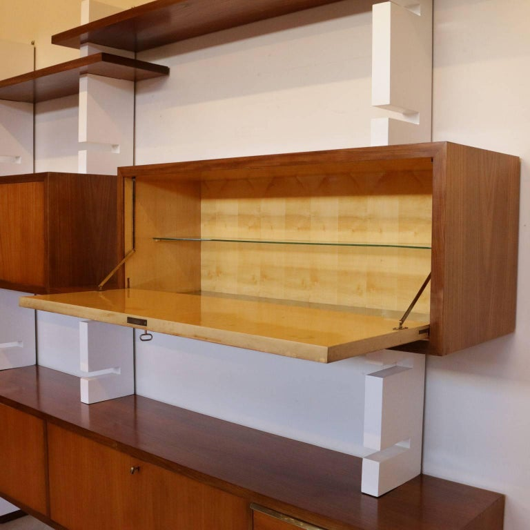 Italian Bookcase Mahogany Veneer Lacquered Wood Vintage, Italy, 1960s For Sale