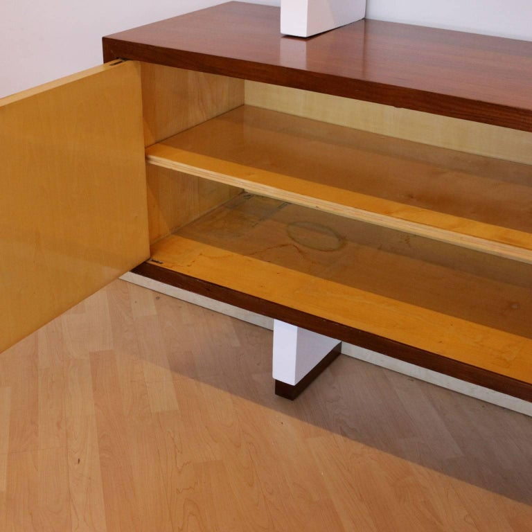 Brass Bookcase Mahogany Veneer Lacquered Wood Vintage, Italy, 1960s For Sale