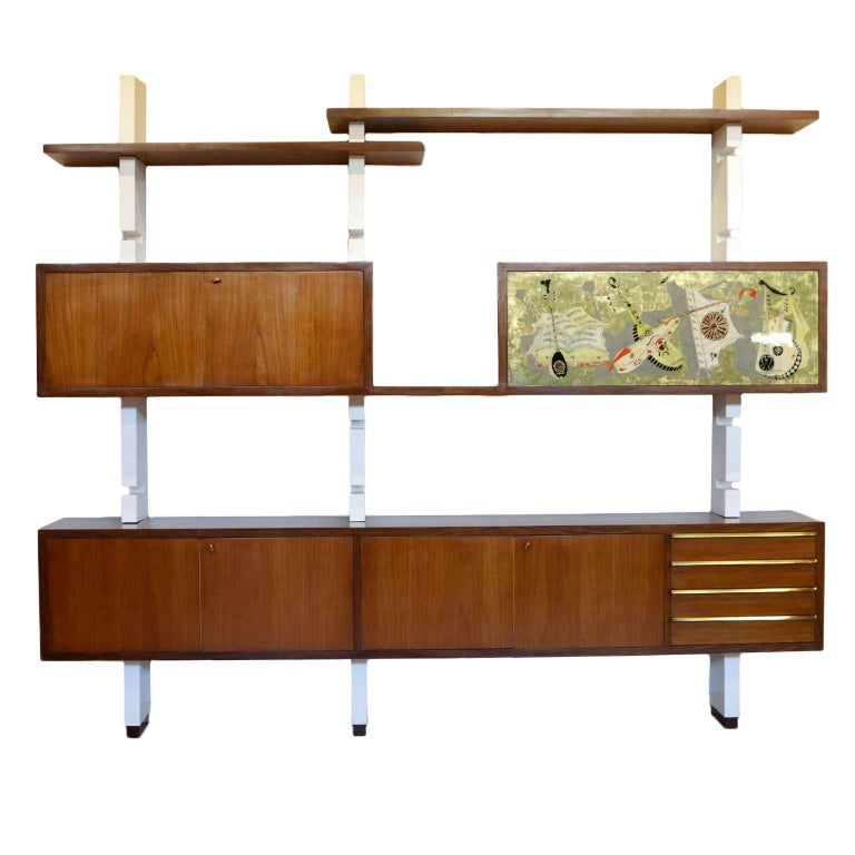 Bookcase Mahogany Veneer Lacquered Wood Vintage, Italy, 1960s For Sale
