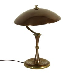 Table Lamp Brass Burnished Aluminium Vintage Manufactured in Italy, 1950s