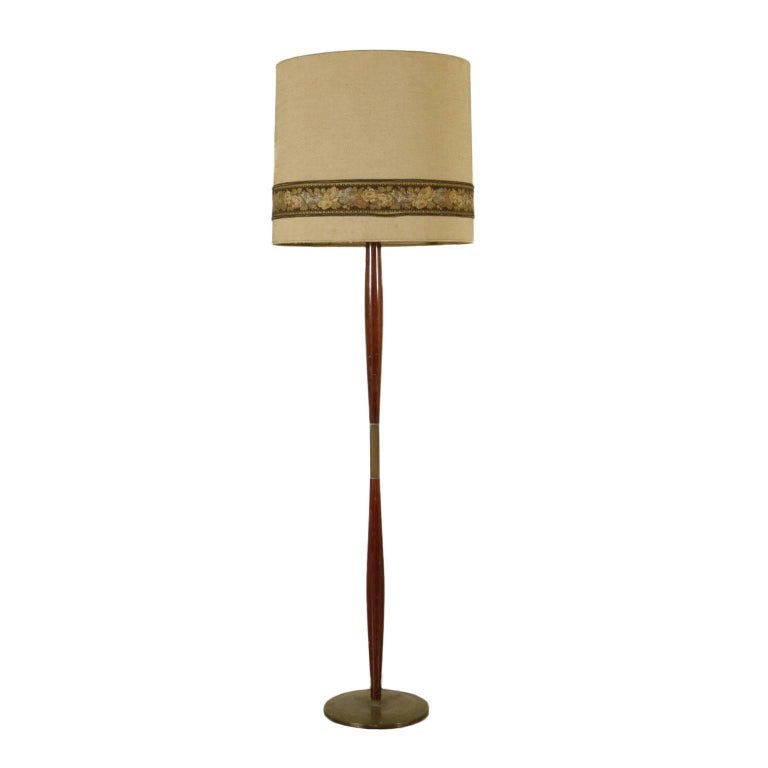 Floor Lamp Wood Brass Fabric Lampshade Vintage Manufactured in Italy, 1950s