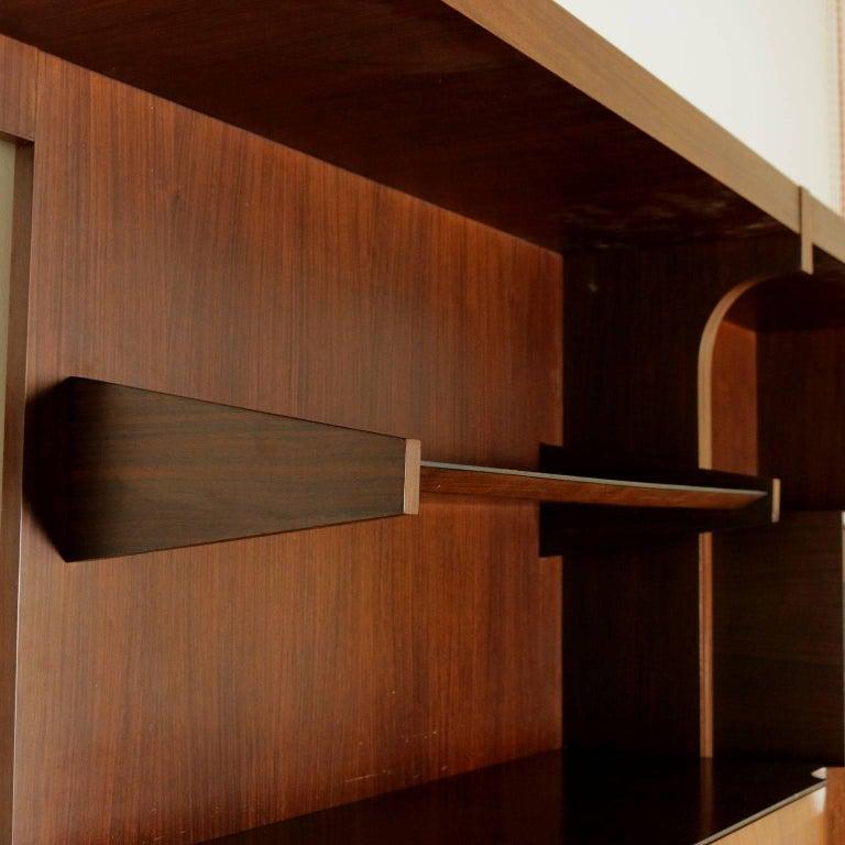 Living Room Wardrobe Rosewood Veneer Vintage Manufactured in Italy, 1960s For Sale 3