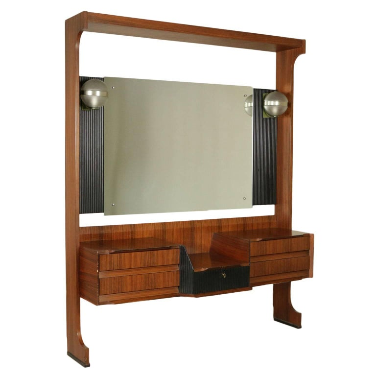 Dressing Table with Mirror and Drawers Rosewood Veneer Vintage, Italy, 1960s