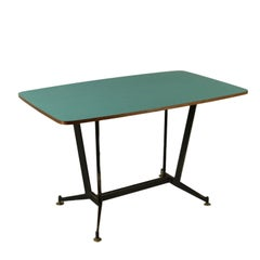 Table Metal Basement Brass Formica Vintage Manufactured in Italy, 1950s-1960s
