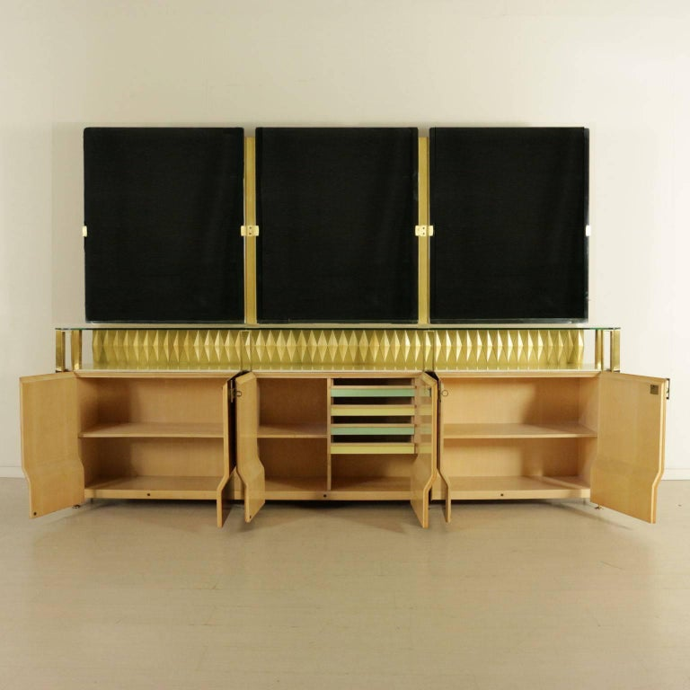 Mid-Century Modern Buffet with Mirror by Vittorio Dassi Rosewood Veneer Brass, Vintage Italy, 1950s For Sale