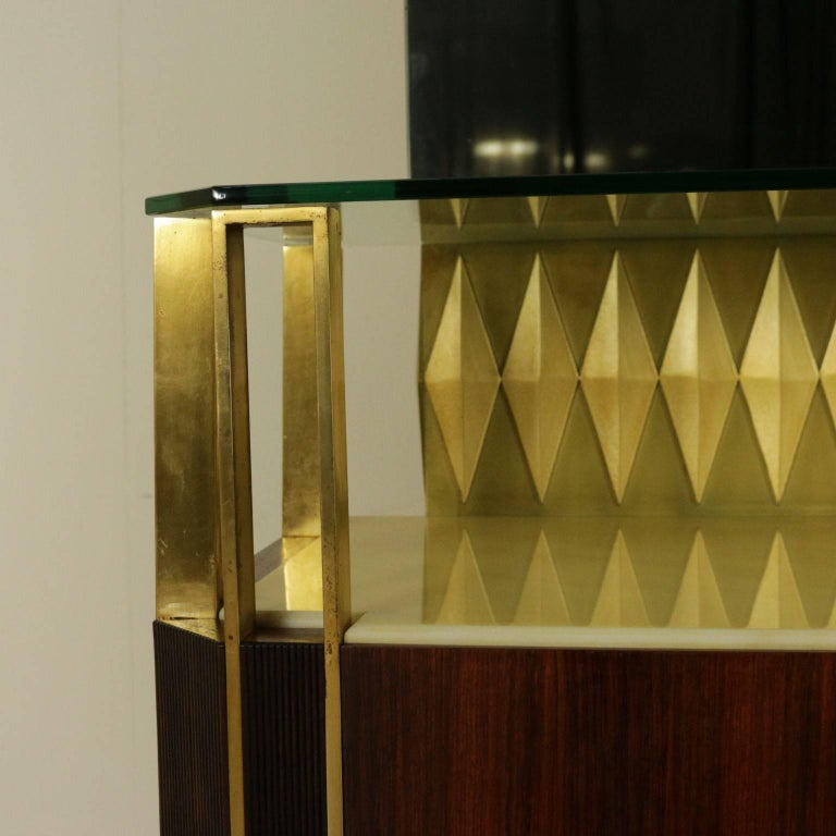 Italian Buffet with Mirror by Vittorio Dassi Rosewood Veneer Brass, Vintage Italy, 1950s For Sale