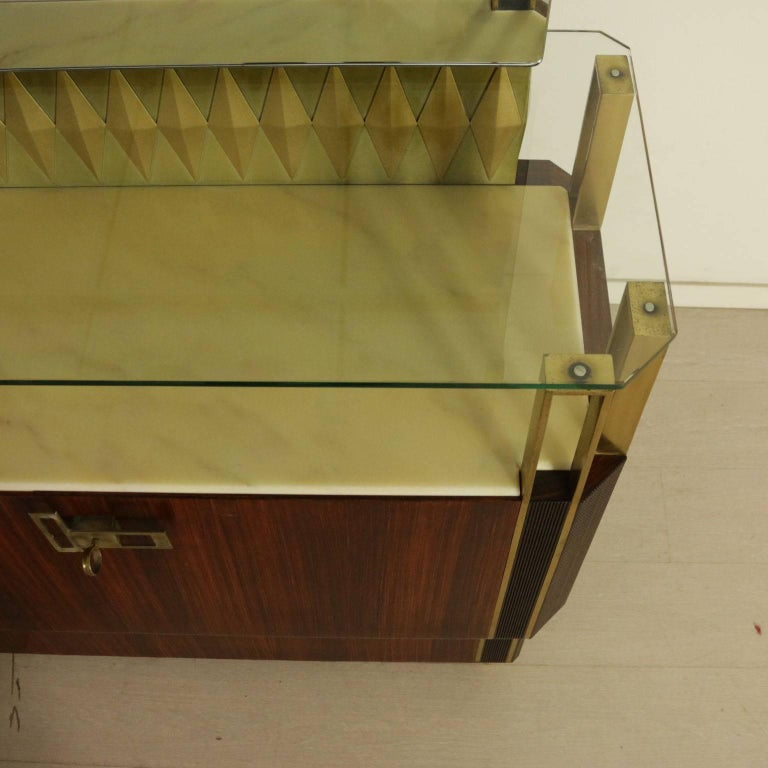 Buffet with Mirror by Vittorio Dassi Rosewood Veneer Brass, Vintage Italy, 1950s For Sale 3
