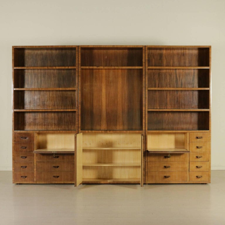 Bookcase Rosewood Veneer Glass Vintage Manufactured in Italy, 1940s 3