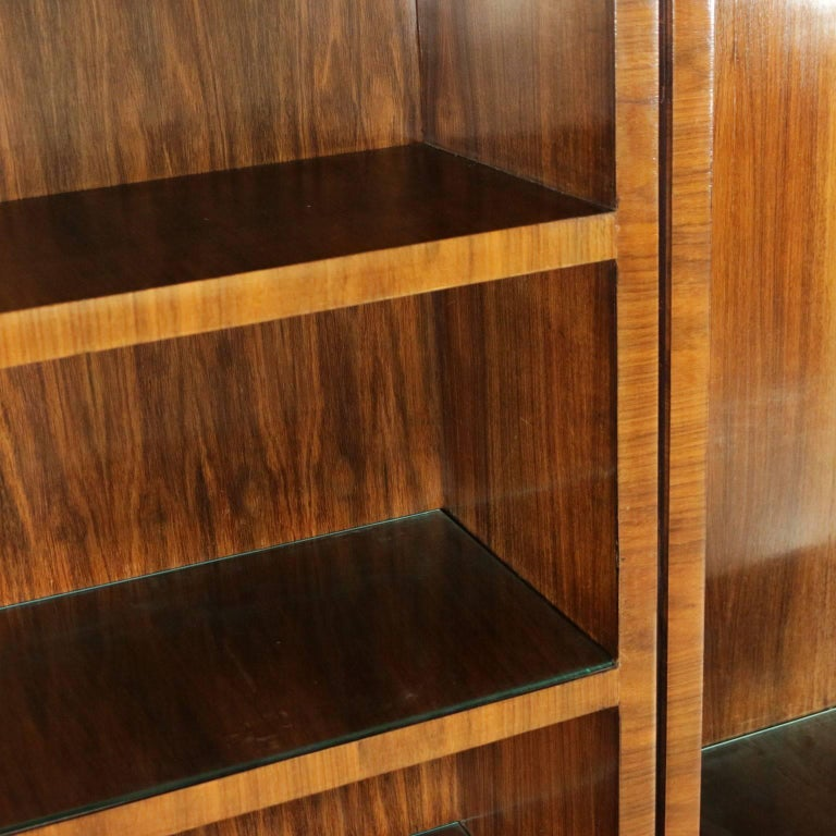 Bookcase Rosewood Veneer Glass Vintage Manufactured in Italy, 1940s 5