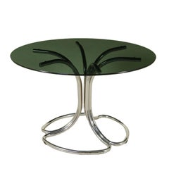 Table Chromed Metal Base Smoked Glass Top Vintage, Italy, 1970s