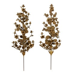 Pair of Wall Lamps with Candleholder Leaves and Flowers, Italy, Late 1800