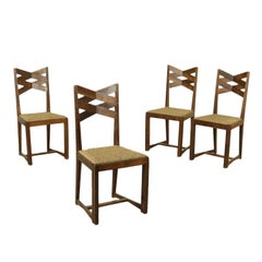 Group of Four Chairs Oak Vintage Manufactured in Italy 1940s