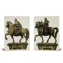 Bookends by Piero Fornasetti Glazed Metal Made in Milan Vintage, Italy, 1960s