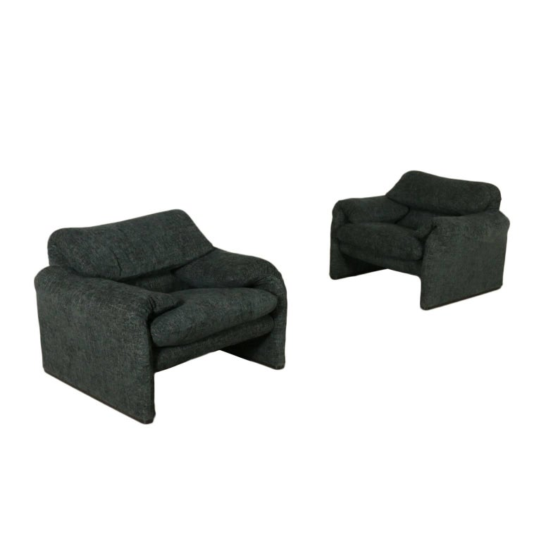 Pair of Armchairs Maralunga Designed for Cassina Vintage, Italy, 1970s-1980s