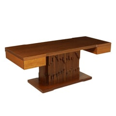 Desk by Luciano Frigerio Norman African Walnut Veneer Vintage, Italy, 1970s
