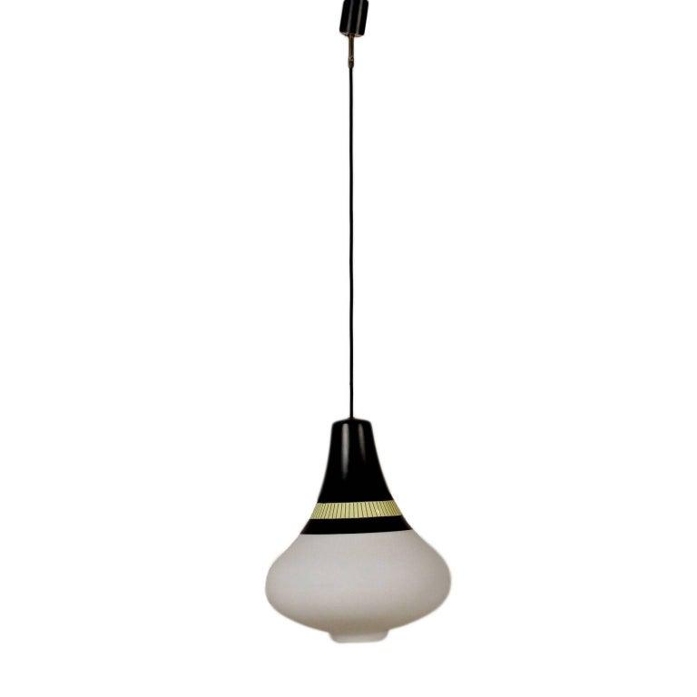 Ceiling Lamp Stilnovo Glass Lacquered Aluminium, Italy, 1960s