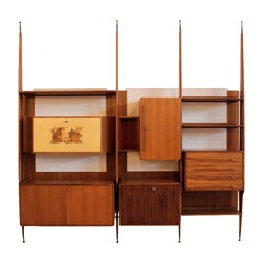 Bookcase Teak Veneer Vintage Manufactured in Italy 1950s-1960s