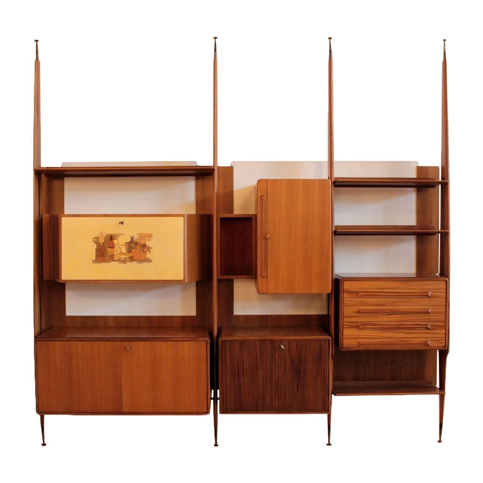 Bookcase Teak Veneer Vintage Manufactured In Italy 1950s 1960s
