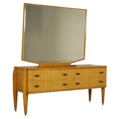 Chest of Drawers with Mirror Maple Beech Vintage, Italy, 1950s-1960s