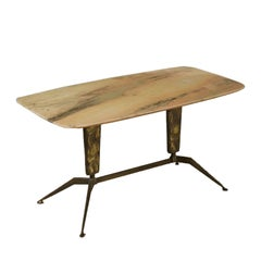 Coffee Table Treated Brass Marble Vintage, Italy, 1960s