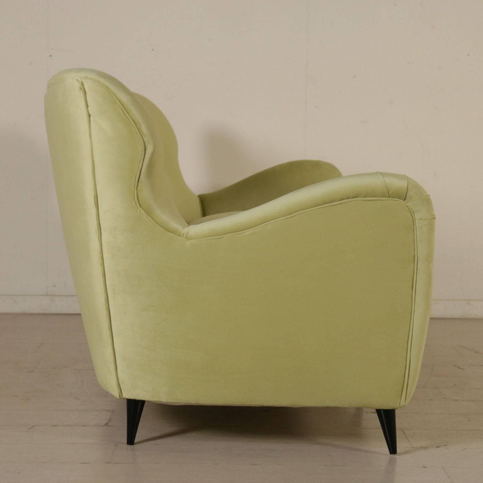 Charmant Mid Century Modern Sofa Springs Foam Padding Velvet Upholstery Vintage,  Italy, 1950s For