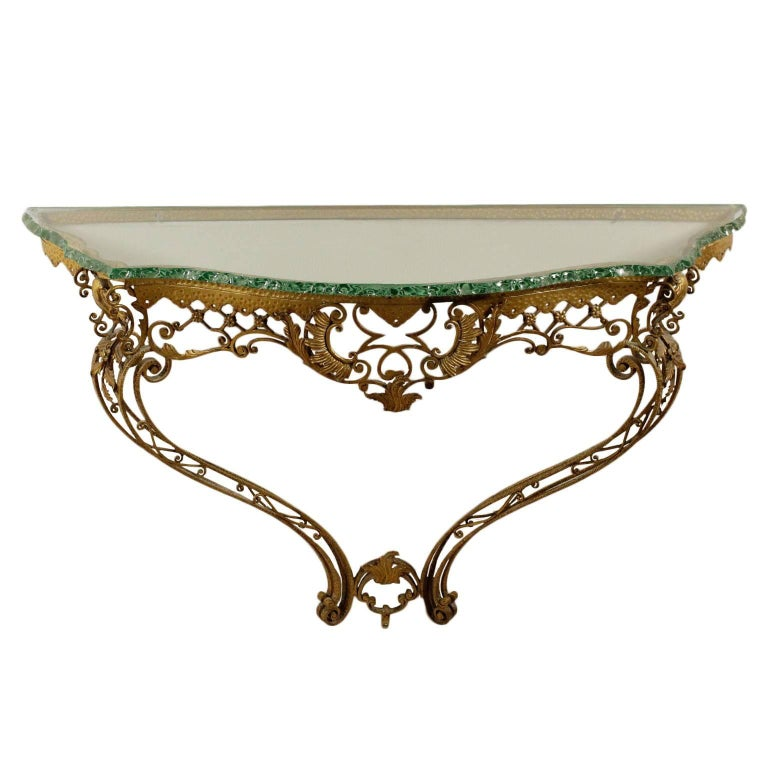 Console Table Brass-Plated Crystal Vintage, Italy, 1950s