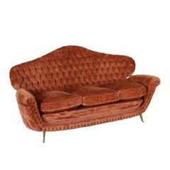 Capitonnè Sofa Velvet Upholstery Brass Vintage, Italy, 1950s