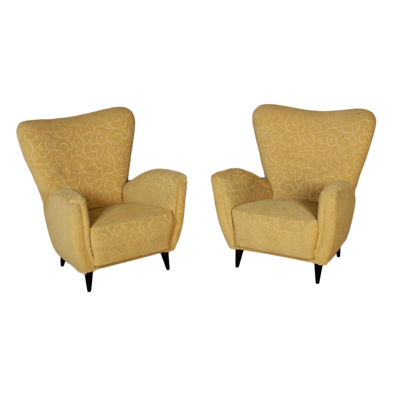 Pair Of Armchairs Fabric Upholstery Stained Wood Vintage Italy
