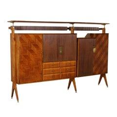 Cupboard Teak Veneer Brass Vintage Manufactured in Italy 1960s
