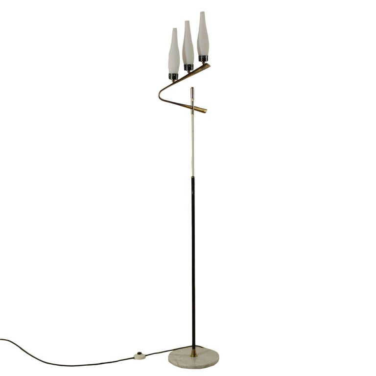 Floor Lamp Brass Marble Opaline Glass Vintage, Italy, 1950s-1960s For Sale